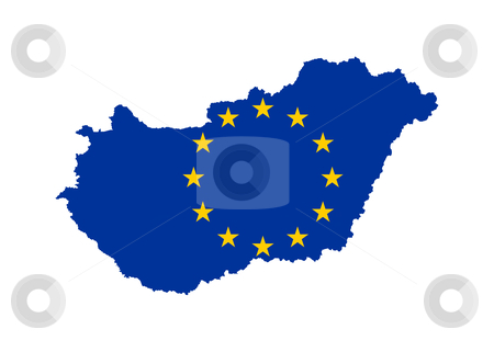 EU flag on map of Hungary stock photo, European flag on mag of Hungary; isolated on white background. by Martin Crowdy