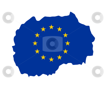EU flag on map of Macedonia stock photo, European flag on mag of Macedonia; isolated on white background. by Martin Crowdy