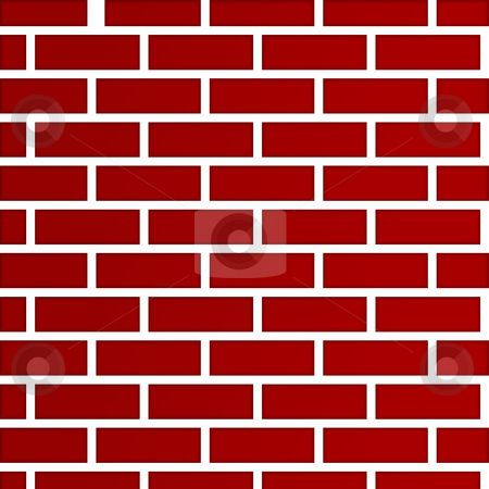 Dark red brick wall background stock photo, Abstract background of dark red bricks; isolated on white background. by Martin Crowdy