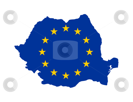 EU Flag on Romania map stock photo, European flag on mag of Romania; isolated on white background. by Martin Crowdy