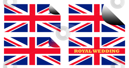 Royal Wedding labels or stickers stock photo, Royal Wedding labels or stickers on Union Jack flags of England or Great Britain. by Martin Crowdy
