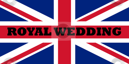 Royal wedding flag stock photo, Words Royal wedding on the flag of the English Union Jack. by Martin Crowdy