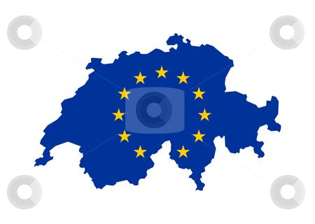EU flag on Switzerland map stock photo, European flag on mag of Switzerland; isolated on white background. by Martin Crowdy
