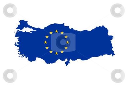 EU flag on Turkey map stock photo, European flag on mag of Turkey; isolated on white background. by Martin Crowdy