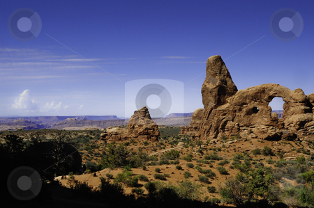 Arches National Park stock photo, Looking out over the terrain in Arches National Park by Don Fink