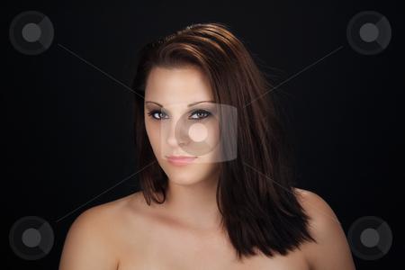 Sexy Brunette Studio Headshot stock photo, Close-up of a beautiful, young brunette by Carl Stewart