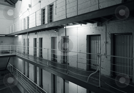 Prison cell block stock photo, View of prison cell blocks. black and white. by © Ron Sumners