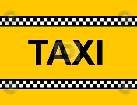 TAXI Sign stock photo, Backgound of a yellow taxi cab with text by Henrik Lehnerer