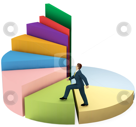 Business man climbs up growth pie chart stairs stock photo, A business man climbs up a pie chart as spiral stairs of growth success. by Michael Brown