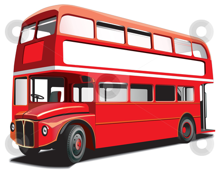 """Double decker bus stock photo, Detailed vectorial image of symbol of London - best-known of England double-decker bus - """"Routhmaster"""", isolated on white background. Contains gradients and blends. by busja"""
