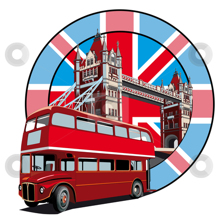 English Style II stock photo, Round vignette with image of double decker bus on background English symbolism by busja