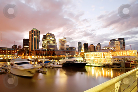 Puerto Madero, Buenos Aires stock photo, Nightly panorama of the Puerto Madero in Buenos Aires, Argentina. by Michael Osterrieder