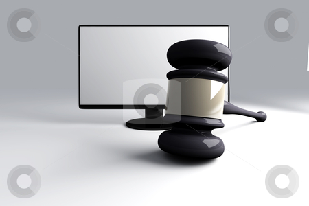 Online Law stock photo, 3D rendered Illustration. A court hammer and a Monitor symbolizing Internet Law. by Michael Osterrieder