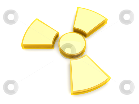 Radioactive sign stock photo, A radioactive warning sign. 3D rendered Illustration. Isolated on white. by Michael Osterrieder