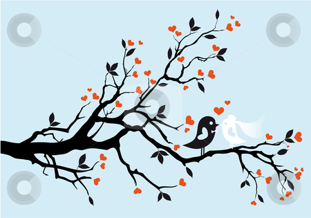 Wedding birds, vector stock photo, wedding birds kissing, vector illustration by Beata Kraus