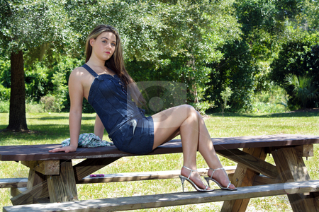Beautiful Teen Girl Outdoors (6) stock photo, A lovely teenage girl sits on a picnic table outdoors in the shade on a bright, sunny day. by Carl Stewart