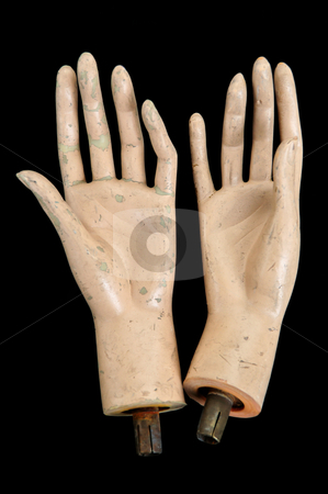 Severed hands stock photo, Weathered severed hands of plastic mannequin doll. by sirylok