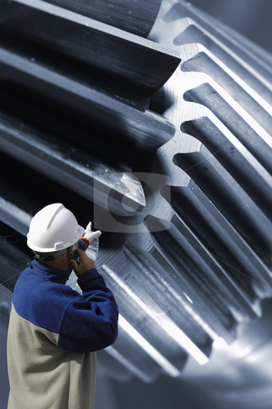 Engineer pointing at large gear machinery stock photo, engineer, worker, examining large gear machinery, steel and metal works by lagereek