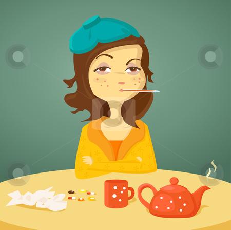 Cartoon girl with illness stock photo, Cartoon girl with illness,  illustration by kariiika