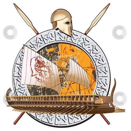 Ancient War stock photo, round vignette with ancient ship on a grunge background in stone framing and two spears with greece helmet by busja