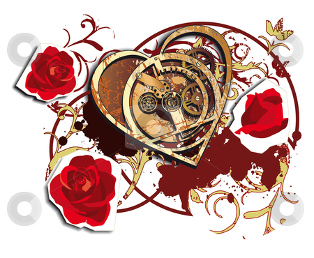 Time for Love stock photo, Vectorial vignette with mechanical heart and roses isolated on white background by busja