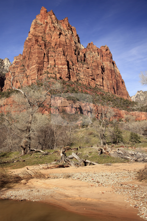 Court of Patricarchs Virgin River Zion Canyon National Park Utah stock photo, Red Rock Court of Patriarchs Virgin River Zion Canyon National Park Utah Southwest by William Perry