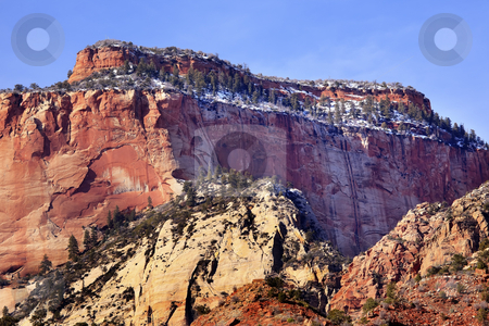 Red Rock Canyon Snow West Temple Zion National Park Utah stock photo, The West Temple Red Rock Canyon Snow Evergreens Towers of Virgin Zion Canyon National Park Utah Southwest by William Perry