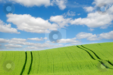 Green hill and clouds stock photo, Green hill and  clouds by Lars Christensen