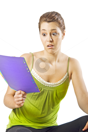 Beautiful young woman reading something shocking - white background with space for text stock photo, Beautiful young woman reading something shocking - white background with space for text by tish1