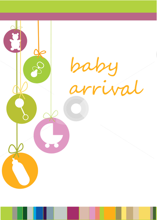 Baby arrival  stock photo, Baby arrival announcement card by kariiika