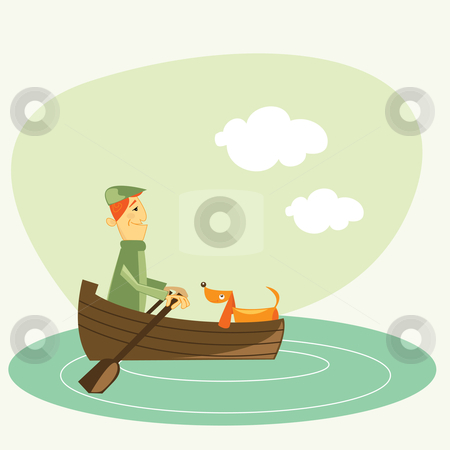 Man on a boat stock photo, man on a boat illustration by kariiika