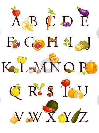 Fruits and vegetables  alphabet stock photo, Fruits and vegetables  alphabet , illustration by kariiika