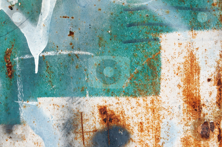 Messy paint stock photo, Messy paint stains on rusty metal. Grungy background texture. by sirylok
