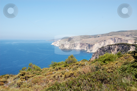Rocky coastline stock photo, Rocky coastline and the ionian sea as seen from cape Keri, Zakynthos, Greece. by sirylok