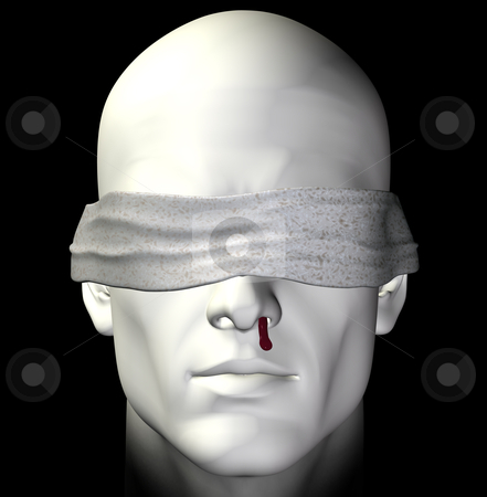 Tortured man stock photo, Blindfolded tortured man with bleeding nose. 3d illustration. by sirylok