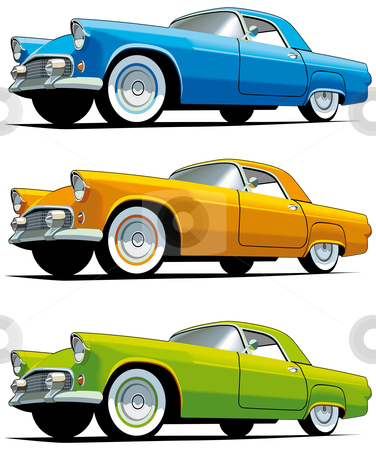 American old-fashioned car stock photo, Vectorial icon set of American old-fashioned cars isolated on white backgrounds. Every cars is in separate layers. File contains gradients and blends. by busja