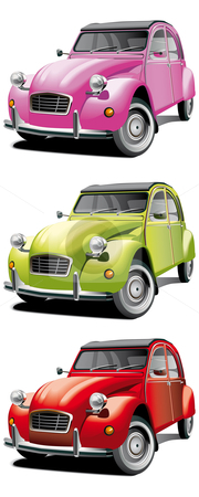 Old little car set stock photo, Vectorial icon set of old little cars isolated on white backgrounds. Every car is in separate layers. File contains gradients and blends. by busja