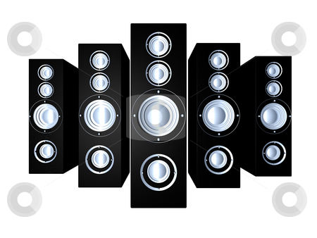 Black Speakers stock photo, Some huge Hifi Speakers.  3D illustration. Isolated on white. by Michael Osterrieder