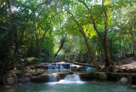 Beautiful waterfall cascades stock photo, beautiful waterfall cascades in erawan kanachanburi thailand by Phil Morley