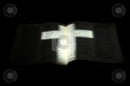 Light Cross on Darkened Bible stock photo, Amazing photo of the holy crucifix cast on an open bible by David Schliepp