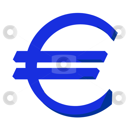 Blue Euro sign or symbol stock photo, Blue Euro sign or symbol; isolated on white background. by Martin Crowdy