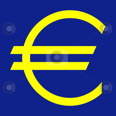 European currency symbol stock photo, European currency symbol in yellow and blue colors of the European Union. by Martin Crowdy