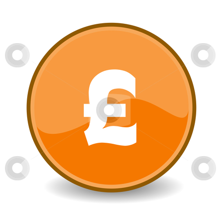 Pound Sterling button stock photo, Illustration of Pound Sterling sign on orange button; isolated on white background. by Martin Crowdy