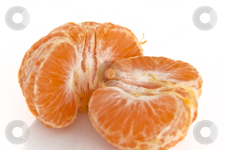 Pealed mandarin orange stock photo, Pealed mandarine orange whole piece on a white background by derejeb