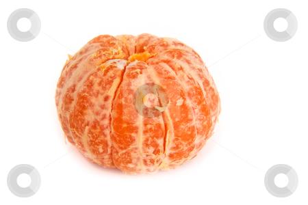 Pealed mandarin orange stock photo, Pealed mandarine orange whole piece on a white background by derejeb