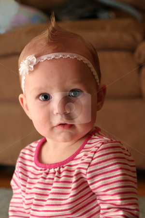 Pretty Baby stock photo, Cupie doll faced baby girl in pink by allihays