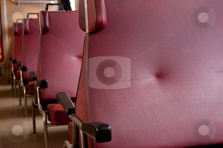 Interior of train stock photo, Detail of seats row in interior of the train by JAMDesign