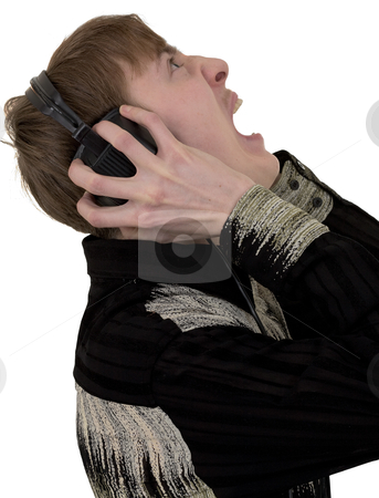 Person in ear-phones shouting stock photo, The person in ear-phones shouting at a white background by Alexey Romanov