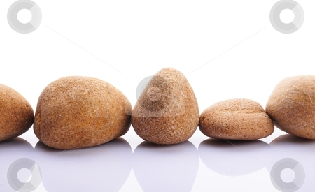 Zen stones stock photo, zen stones or pebbles showing spa concept isolated on white background by Gunnar Pippel