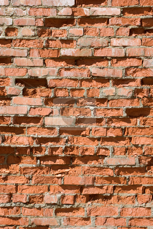 Red old brick wall structure stock photo, Red old brick wall structure by Alexey Romanov
